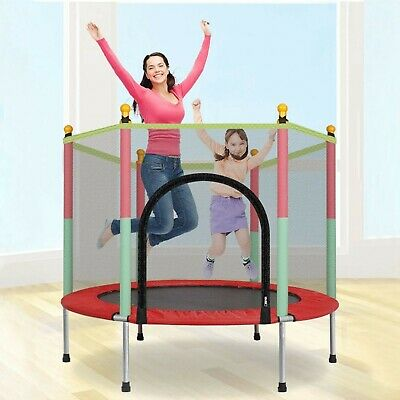 5FT Mini Trampoline Set With Enclosure Safety Net Outdoor Indoor Kids Toy Plays • 63.69£