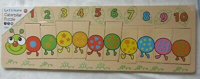 Wooden CATERPILLAR Number Puzzle  -  New & Sealed • 4.95£