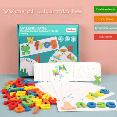 Kids English Word Learning Puzzle Toy Wooden Alphabet Letters Spelling Game Toy • 11.79£