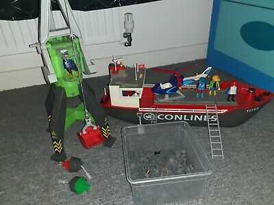 Playmobil Cargo Ship Boat  Conlines Crane Figures Helicopter Out At Sea  • 35£