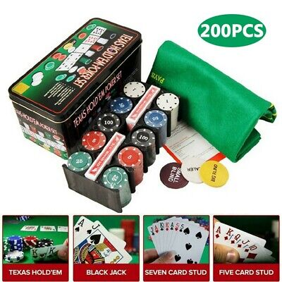 200pc Texas Hold Em Poker Set In Case Casino Style Card Dealer Chips Accessories • 11.98£