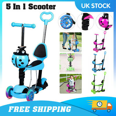 Kids Scooter Adjust Seat Toddler Kick Scooter Flashing Wheels Child Toys 5-in-1 • 20.29£