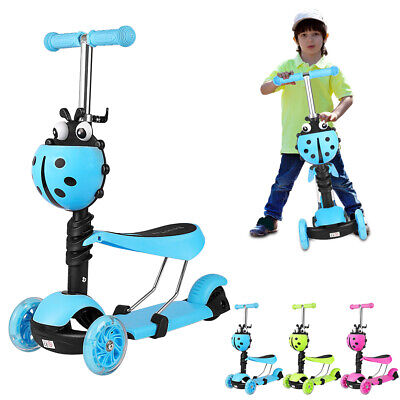 3 In 1 Kids Scooter Flashing Wheels Toddler Kick Scooter Adjust Seat Child Toys • 16.99£