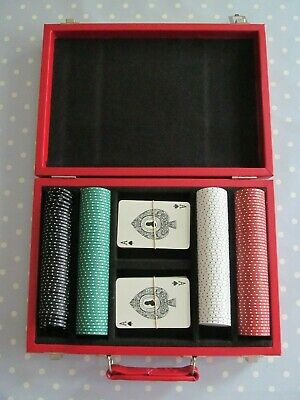 Poker Gambling Chips / Counters + De La Rue Playing Cards In A Padded Carry Case • 20£