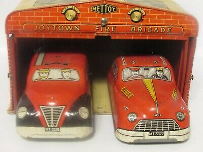 Vintage C1950s Mettoy  ' Joytown' Tinplate Fire Station Set With Box • 125£