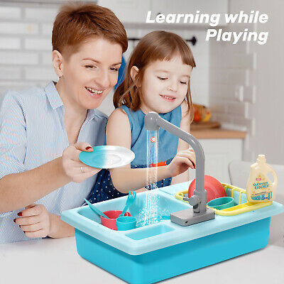 Electric Dishwasher Sink Toys Pretend Play Kitchen With Running Water For Kids • 17.99£