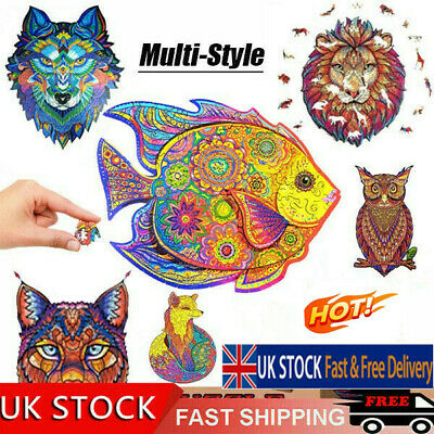 2021 Wooden Jigsaw Puzzles Unique Animal Shape For Adult Kid Child Toy Gifts • 13.91£