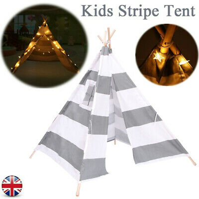 Canvas Kids Teepee Indian Stripe Tent Wigwam Indoor Play House W/ LED Lights • 22.98£