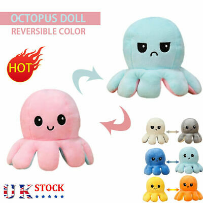 Double-Sided Flip Reversible Octopus Plush Toy Squid Stuffed Doll Toys • 4.98£