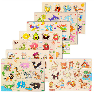 Wooden Puzzle Baby Kids Toddler Jigsaw Alphabet Letters Animal DIY Learning Toys • 5.99£