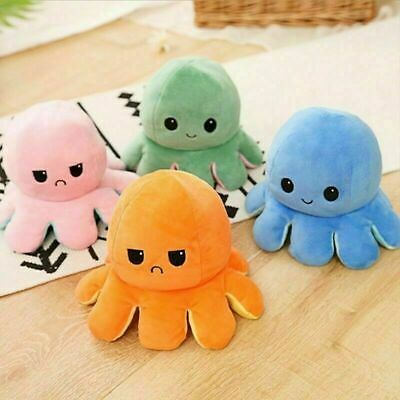 Funny Double-Sided Flip Reversible Octopus Cute Plush Toys Animals Doll Gift UK • 3.95£