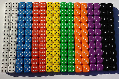 20 Of Opaque Six Sided Spot Dice, Size 16mm - D6 RPG -  Game Dice - Wargaming • 2.75£
