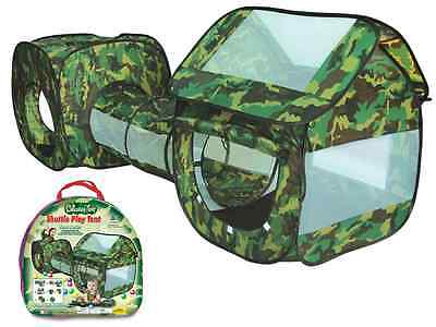 3 Piece Army Camouflage Kids Pop Up Adventure Play Tent House & Tube Tunnel Camp • 21.95£