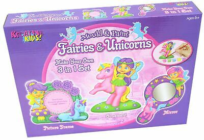 3 In 1 Fairy & Unicorn Art Set - Mould & Paint Your Own Frame, Mirror & Ornament • 5.99£