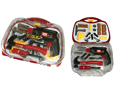 BOYS KIDS CHILDRENS ROLE PLAY BUILDER TOY 23pc TOOL SET & CARRY CASE WITH DRILL • 9.95£