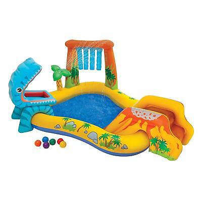 Intex Dinoland Childrens Activity Water Play Centre Paddling Pool Slide Spray • 54.99£