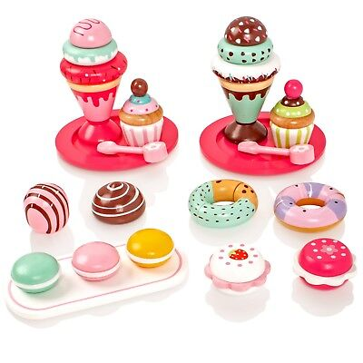 Childrens Wooden Cakes Ice Creams Set Pretend Play-Food Playset Teaset Party Toy • 14.99£