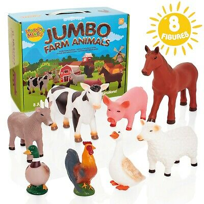 Learning Minds 8 Jumbo Farm Animal Play Figures Toys Childrens Cow Horse Sheep • 17.99£