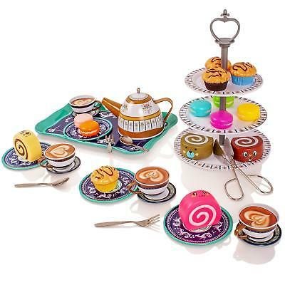 Childrens Metal Afternoon Tea-Set Play Food Toy Kitchen Teapot Cups Saucers Cake • 14.99£