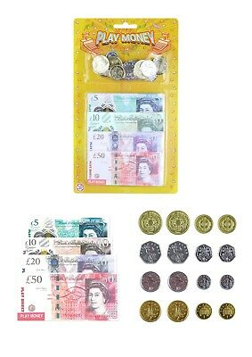 Kids Play Fake Pretend Money Toy Cash £5 £10 £20 £50 Note COINS (T09378) • 1.99£