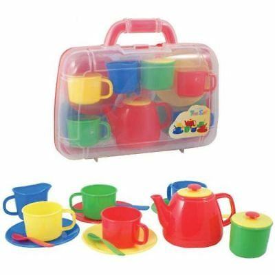 Tea Set Carry Case Play Set Childrens Roleplay Toy Plastic Primary Teaset • 10.99£