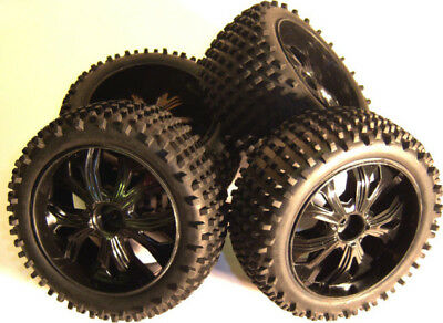 BS937-001/2 1/10 Scale RC Buggy Off Road Wheels And Tyres X 4 Black Oversized • 24.99£