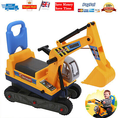 Kids Ride On Digger Toy Sand Excavator Children W/ Helmet Christmas Gift • 25.43£