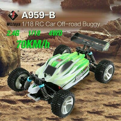 WLtoys A959-B 2.4G 1/18 Scale 4WD 70KM/H Electric RTR Off-Road Buggy RC Car Gift • 48.98£
