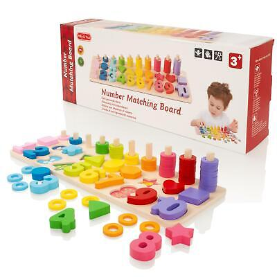Childrens Count & Match Numbers Wooden Counting Maths Educational Puzzle Toy • 10.99£