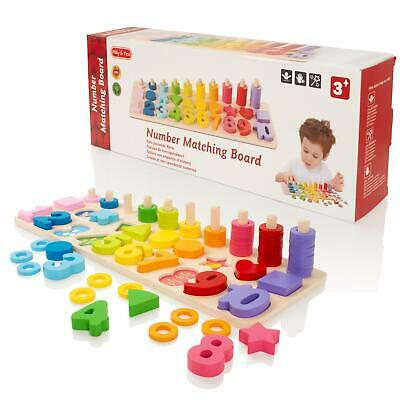 Childrens Count & Match Numbers Wooden Counting Maths Educational Puzzle Toy • 12.99£