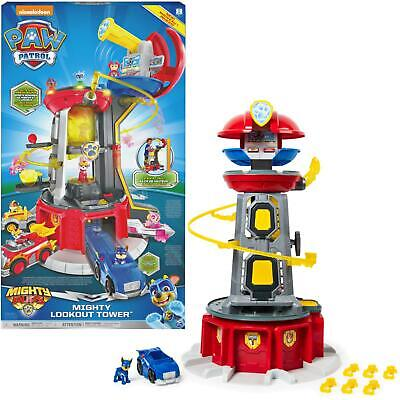 PAW Patrol Mighty Pups Super Paws Lookout Tower Kids Toy Playset Light & Sounds • 89.99£