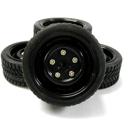 1/10 Scale RC Nitro Electric Car Plastic Wheel And On Road Tread Tyre Black X 4 • 11.99£
