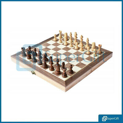 Large Chess Wooden Set Folding Chessboard Magnetic Pieces Wood Board UK • 17.99£