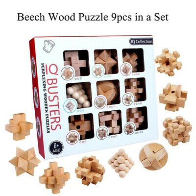 Wooden Intelligence Toys Chinese Brain Teaser Game Toy 3D Puzzle Kong Ming Lock • 12.99£