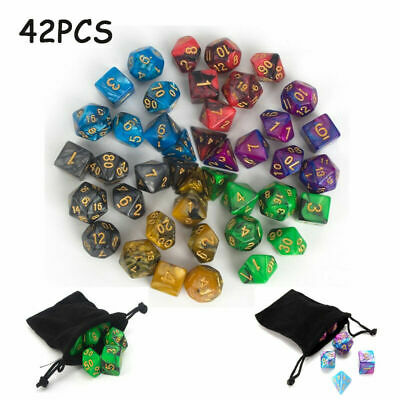 42Pcs 6 Set Polyhedral Dice With Bag For DND RPG MTG Role Playing Board Game • 9.88£