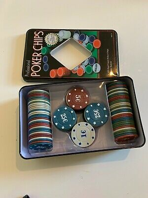 Set Poker Texas 100 Chips Numbered Chips Box Gift Idea Game 3096 • 8.99£