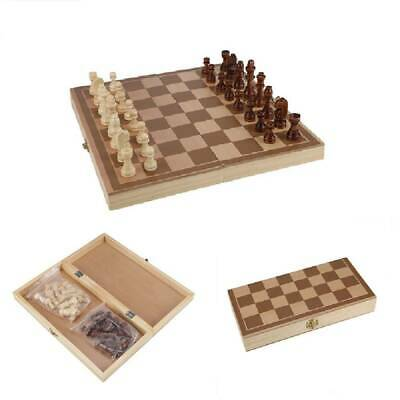 Folding Wooden Chess Set High Quality Standard Chess Set Chessboard 30x30CM UK • 7.39£
