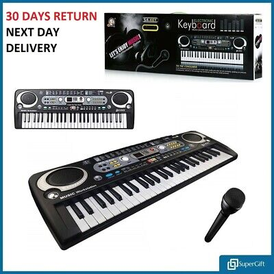 Electronic Digital Keyboard & Microphone Mic Electric LED Adult Size Set 54 Keys • 16.99£