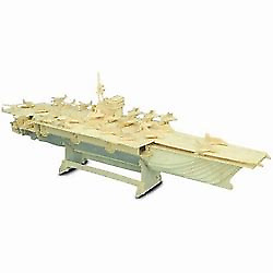 AIRCRAFT CARRIER Woodcraft Construction Kit. Wooden Model Puzzle For KIDS/ADULTS • 13.90£