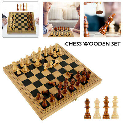 Folding Large Wooden Chess Set High Quality 32 Piece Chessboard Hand Crafted UK • 14.99£
