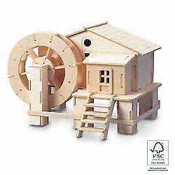 WATER WHEEL  Woodcraft Construction Kit -Wooden Model Puzzle KIDS/ADULTS P068 • 7.49£