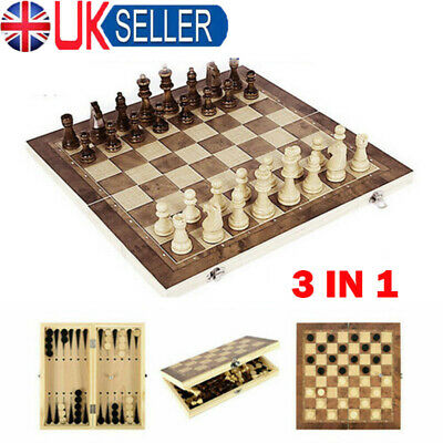 Folding Large Chess Wooden Set Chessboard Magnetic Pieces Wood Board Gift Toy • 9.69£