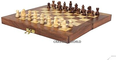 Folding Large Chess Wooden Set Chessboard Pieces Wood Board Gift Toy FN • 7.99£
