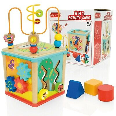 Milly & Ted 5 In 1 Wooden Toy Activity Cube - Baby/Toddler Shape Sorter Centre • 9.99£