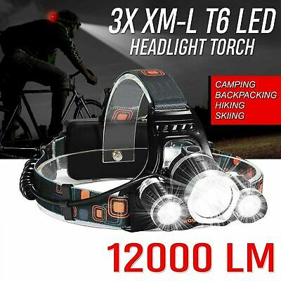Zoom Headlamp 90000LM Rechargeable T6 LED Headlight Flashlights Head Torch Fish • 12.95£