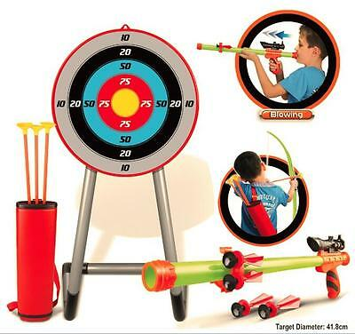 Archery Target Set Bow & Arrows Blow Pipe & Darts Outdoor Fun Garden Party Game • 16.95£