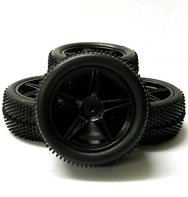 66011/031 1/10 Off Road Front Rear Buggy RC Wheels Pin Tyres 5 Spoke Black X 4 • 16.99£