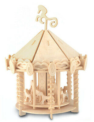 CAROUSEL Woodcraft Construction Kit - 3D Wooden Model Puzzle For KIDS/ADULT  • 7.49£