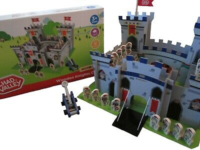 Chad Valley Large Wooden Knights Castle Children's Play Set Includes Figures NEW • 16.99£
