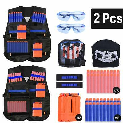 Kids Tactical Vest 2 Sets Nerf Tactical Vest For Guns Kid Vest Suit Kit Set • 17.98£